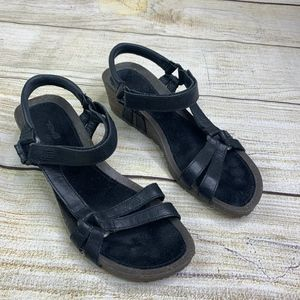 Teva Ventura Cork Black Strappy Sandals Wedge 9